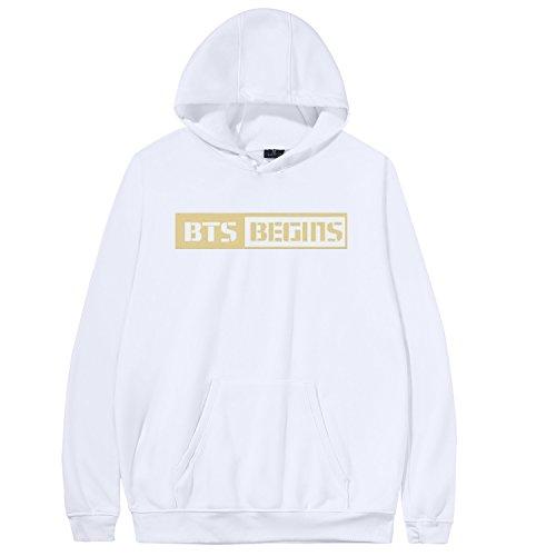 Kpop BTS Hoodie Begins Concert Sweater Jin Jimin Rap Monster Suga Jacket L White