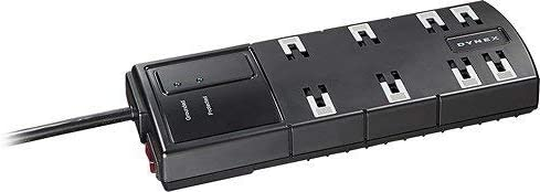 Dynex – 8-Outlet Surge Protector – Black