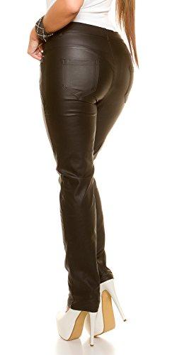 Curvy Girls Size! Lederlook Hose mit Zips, schwarz