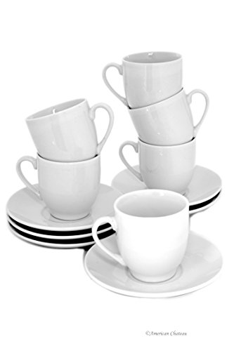 Set for 6 Elegant White Porcelain Demitasse Espresso Cups with Saucers & Handles ()