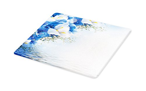 Dreamy Hydrangea (Lunarable Light Blue Cutting Board, Blue Hydrangeas and White Irises Over The Sea Romantic Bouquet Dreamy, Decorative Tempered Glass Cutting and Serving Board, Large Size, Blue Pale Blue White)