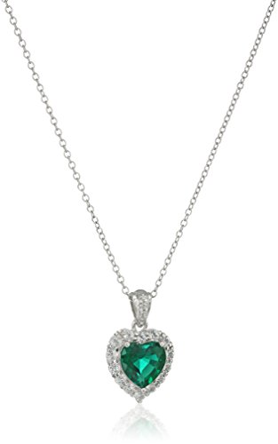 Platinum-Plated Sterling Silver Created Gemstone and White Topaz Halo Heart Pendant Necklace, 18