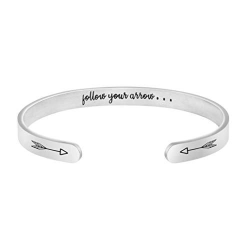 (MEMGIFT Follow Your Arrow Bracelet Inspirational for Women Daily Reminder Mantra Cuff Bangle Graduation Jewelry Class of 2019)