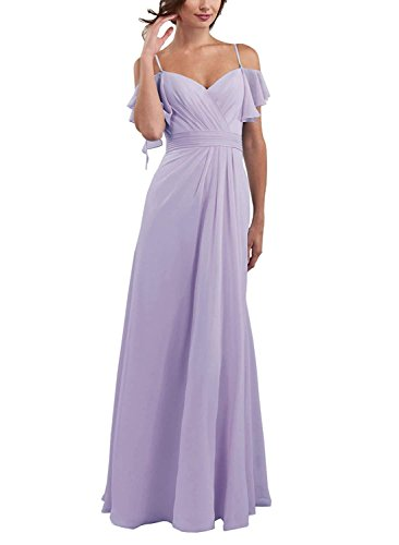 Aurora Prom Gown (Aurora Bridal Women's Off Shoulder Chiffon 2018 Bridesmaid Dresses Long Foraml Prom Gowns Size 2 Lavender)
