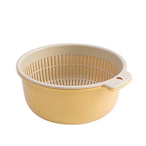 Sodoop Fruits Drain Basket, 2-in-1 Multifunction Kitchen Colander Strainer and Bowl Set, Double-Layer Separation Design Drain Basin Food Drainer for Fruit Vegetables Cleaning, Washing