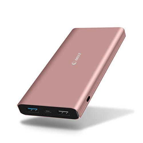Portable Charger,Emnt 10400mAh Quick Charge 3.0 Power Bank QC 3.0 Dual USB Port Compact External Backup Battery Pack with Indicator for Iphone,Ipad,Samsung Galaxy,Tablet,Camera,Kindle and More-Pink