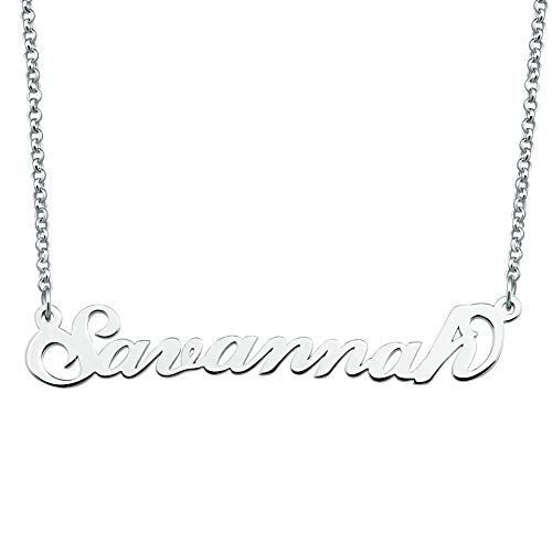 JewelryJo 925 Sterling Silver Personal Name Necklace Semi-Custom Made Customized Personalized Gift for ()