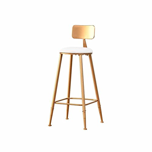 (Metal Bar Stool Breakfast Tall Chairs Kitchen Backrest Footrest Counter Front Desk Stools Simple Modern Dining Table Northern Europe Load 120Kg (Color: Golden) (Sitting Height)