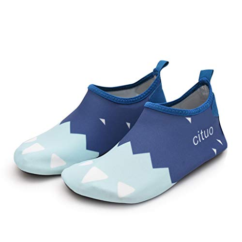 (QQSX Cartoon Beach Socks Snorkeling Shoes Anti-Cut Skid Shoes Children's Wading Upstream Swimming Shoes Barefoot Quick-Drying Soft Shoes Toddler Water Shoes (Color : Blue Bear Claw, Size : 28-29) )