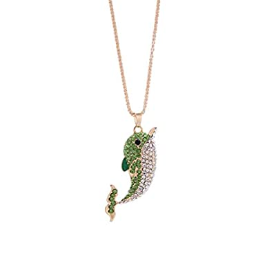 iLH® Clearance Deals Dolphin Pendant Necklace Women Charm colorful Dolphin Rhinestone Cute Necklace Jewelry by ZYooh