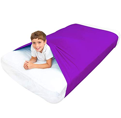 Cheap Special Supplies Sensory Bed Sheet for Kids Compression Alternative to Weighted Blankets - Breathable Stretchy - Cool Comfortable Sleeping Bedding (Purple Queen) Black Friday & Cyber Monday 2019