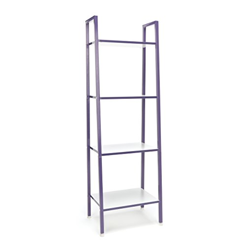 4-Shelf Ladder Bookcase - Modern Free Standing Bookshelf,/White () (Purple Bookshelf)