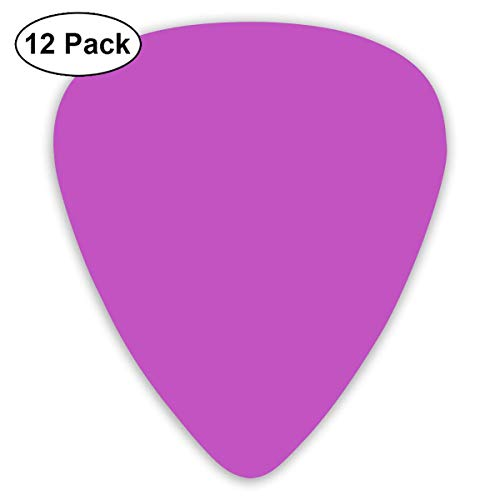 Deep Fuchsia Solid Color Guitar Picks, 12 Pack Unique Designs Stylish Colorful Guitar Picks for Bass, Electric and Acoustic Guitars ()