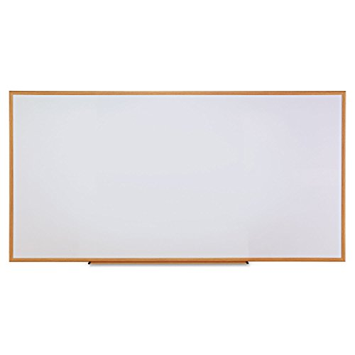 Universal 43620 Dry-Erase Board, Melamine, 96 x 48, White, Oak-Finished Frame by Office Realm