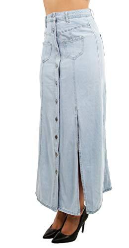 Women's Juniors High Waist, Buttons Down, 8-Gore Long Jeans Maxi Denim Skirt in Light Blue Size L