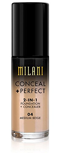 Milani Conceal + Perfect 2-in-1 Foundation Concealer, Medium Beige, 1.0 Fluid Ounce