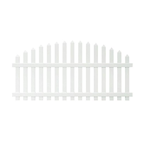 (4 ft. x 8 ft. Glendale Arched Top Spaced Picket Vinyl Fence Panel with 3 in. Pointed Pickets - Unassembled)
