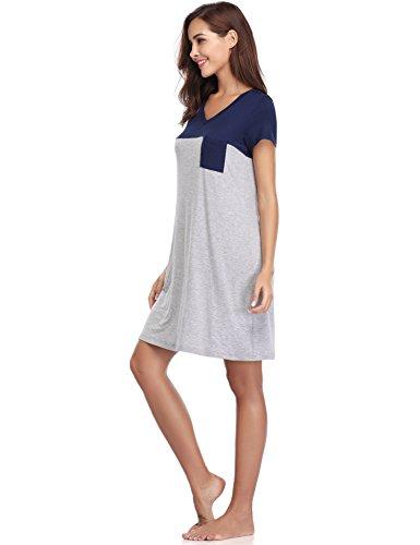 cotone a Aibrou blu Donna maniche in Camicia scuro corte pizzo da da in notte notte Camicia Pigiama prpXYwq