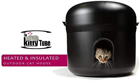 The Kitty Tube Insulated Outdoor Cat House – Feral Option with Straw and Low Voltage Pet Heating Pad