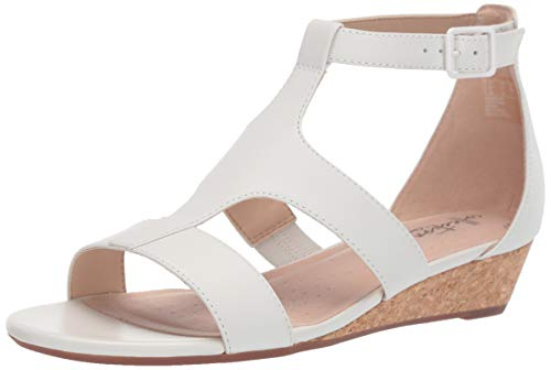 (Clarks Women's Abigail Lily Wedge Sandal, white leather, 6 M US)