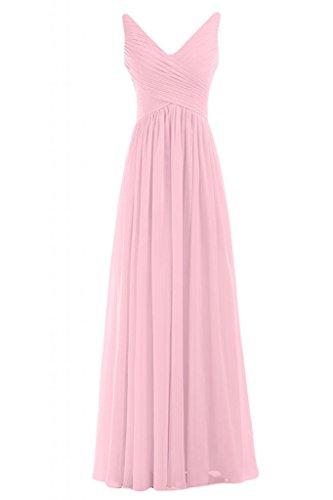 d'onore Gowns sera feste V damigella da Sunvary Pink con da per a donna scollo da abito Graceful lunghe Costume 0nqwpPZ