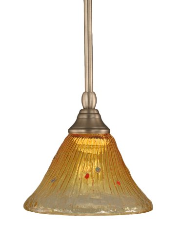Toltec Lighting 23-BN-770 Stem Mini-Pendant Light Brushed Nickel Finish with Gold Champagne Crystal Glass, 7-Inch