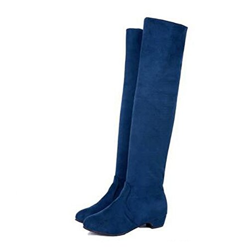 LONG HIGH KNEE SUEDE Royal FAUX THIGH OVER HIGH BOOTS LADIES THE WOMENS FLAT Blue ANDAY qHPx0Ftq