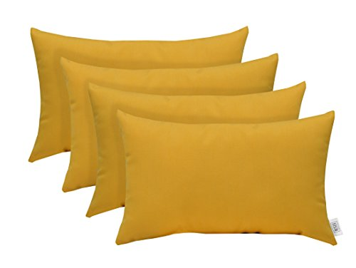 (RSH Décor Set of 4 Indoor Outdoor Decorative Lumbar Throw Pillows Sunbrella Canvas Buttercup Soft Yellow - Choose Size (12