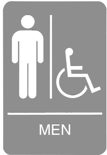 Headline Sign 5218 ADA Wheelchair Accessible Men's Restroom Sign with Tactile Graphic, 6 Inches by 9 Inches, Light Gray/White
