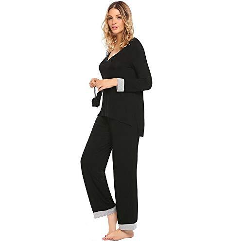 Elastico Patchwork Vita Dukunkun neck Xl In Sleepwear Manica Set m Notte V Da Lunga wxYqBn0zY