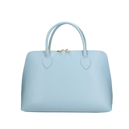 Aren Handbag Borsa a Mano da Donna in Vera Pelle Made in italy - 37x27x12 Cm Azzurro