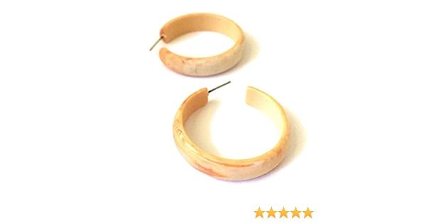 Matte Black Marbled Hoops vintage lucite leetie lovendale midi hoop earrings Jet Black Hoop Earrings