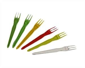 500fichas de mariscos Forks tenedores de plástico desechables Multicolor irrompible Take Away pescado y CHIPS fiestas (degustación Degustation muestreo
