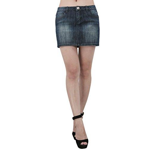 jntworld Skinny Jeans Slim A-line Sexy Micro Mini Denim Skirt, XS, Navy Blue