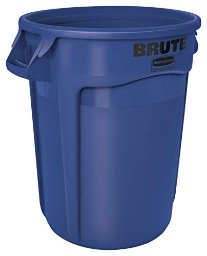 Rubbermaid Commercial Products FG263200BLUE BRUTE Heavy-Duty Round Trash/Garbage Can, 32-Gallon, Blue ()