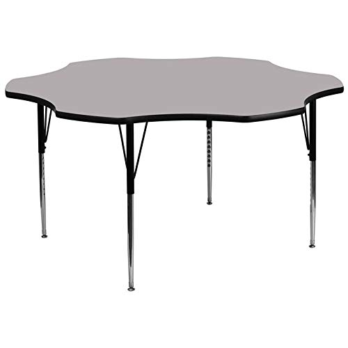 Flash Furniture 60'' Flower Grey Thermal Laminate Activity Table - Standard Height Adjustable Legs