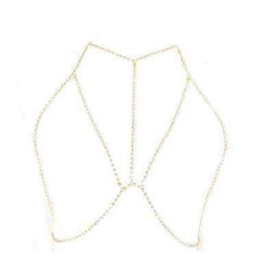 Crystal Rhinestone Women Harness Body Jewelry Bikini Bra Crossover Belly Waist Chain Silver Tone