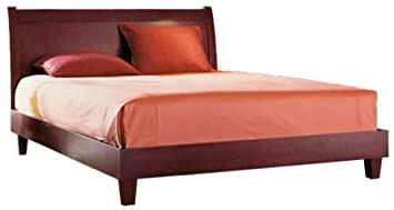 java platform bed with wood frame and sleigh headboard mahogany finish queen - Mahogany Bed Frame