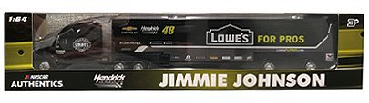 Nascar Jimmie Johnson #48 2018 Edition Lowes For Pros Hendrick Motorsports Team Racing Hauler Transporter Semi Tractor Trailer Rig Truck 1/64 Scale Authentics Edition Metal Cab Plastic Trailer ()