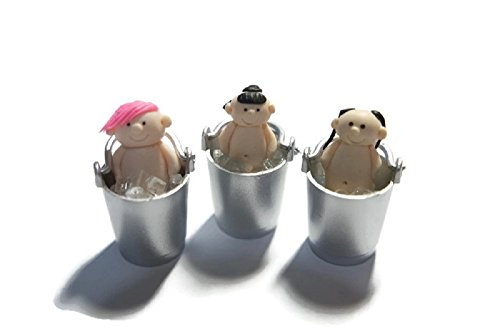 Heartyhug 3D three cute naked boys in ice buckets Songkran festival Thailand hot summer handmade dollhouse decorative collectible doll