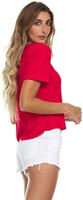 INNER BEAUTY T-SHIRT FOR WOMEN - SHORT SLEEVE CROP TOP, CRISS CROSS V-NECK TEE