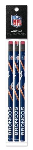 Denver Broncos Pencil - Denver Broncos 3 Pack Wood Pencil in Clear Bag with Header - NFL (12005-QUH)