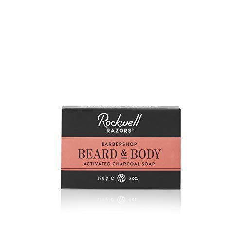 Rockwell Beard & Body Bar Soap - Barbershop Scent - All-Natural with Activated Charcoal, Shea Butter and Jojoba Oil, Organic Coffee Exfoliant - 6oz (Razor Soap)
