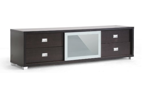 Transitional Frosted Glass (Baxton Studio Botticelli Brown Modern TV Stand with Frosted Glass Door)