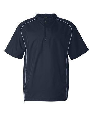 Rawlings Adult Quarter-Zip Short Sleeve Dobby Jacket With Piping (Navy) (2X) by Rawlings