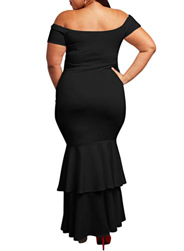 3a80827bb9a Ecosunny Womens Off Shoulder Bodycon Ruffle Mermaid Plus Size Party Maxi  Dress