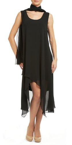 Yvonne Marie Women's Layered Chiffon Dress Large Black