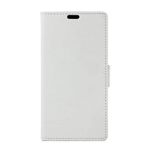 Funda LG K4 , Aomo LG K4 Funda Piel [Protector de Pantalla] [Estilo Libro][ Ranuras para Tarjetas][Soporte Plegable] Funda Cuero para LG K4 2016 (4,5 pulgadas),Color Negro Blanco