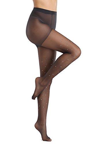 FanShou Women Control Top Sheer Sparkle Glitter Rhinestone Pantyhose Tights (One Size, (Black Shimmer Tights)
