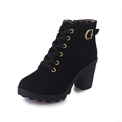 NEOKER Heeled Ankle Boots Women Ladies Warm Fur Lined Booties Side Zipper Suede Winter Shoes for Party Dating Elegant 8cm Black Red Yellow 2.5-6.5 UK Black